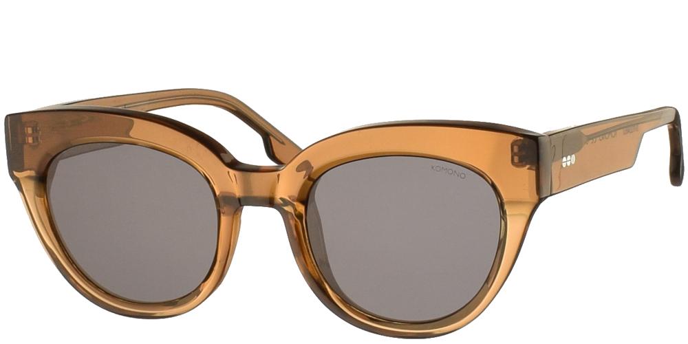 Γυναικεία κοκάλινα γυαλιά ηλίου πεταλούδα Komono Lucile Sand σε ανοιχτόχρωμο καφέ χρώμα και γκρι polarized φακούς για όλα τα πρόσωπα.