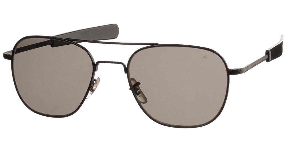 Μεταλλικά διαχρονικά μαύρα ανδρικά γυαλιά ηλίου Pilot 57 Black της εταιρίας American Opticalμε κρυστάλλινους φακούς για μεσαία και μεγάλα πρόσωπα.