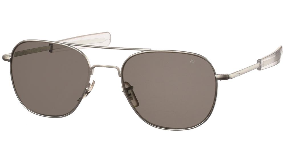 Μεταλλικά διαχρονικά ματ ασημί ανδρικά γυαλιά ηλίου Pilot 57 Matte Silver της εταιρίας American Opticalμε κρυστάλλινους φακούς για μεσαία και μεγάλα πρόσωπα.