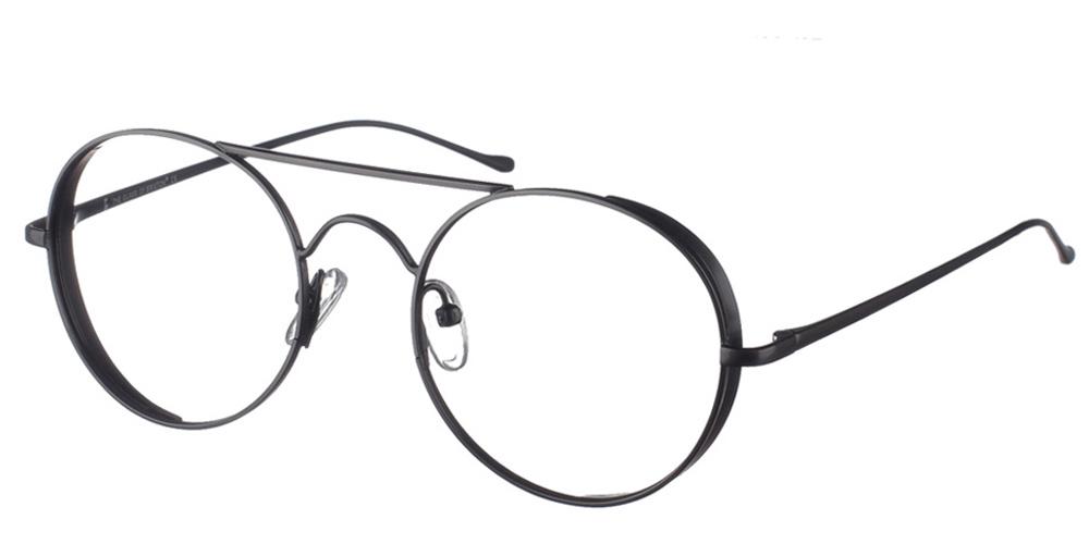 Στρογγυλά μεταλλικά ανδρικά και γυναικεία γυαλιά οράσεως Brixton Lab BF0107 C1 σε μαύρο μεταλλικό σκελετό με διπλή μπάραγια όλα τα πρόσωπα.