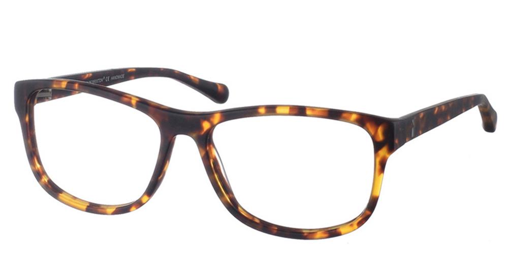 Κοκάλινα τετράγωνα ανδρικά και γυναικεία γυαλιά οράσεως Brixton Circus BF0048 C2 με καφέ ταρταρούγα σκελετόγια όλα τα πρόσωπα.