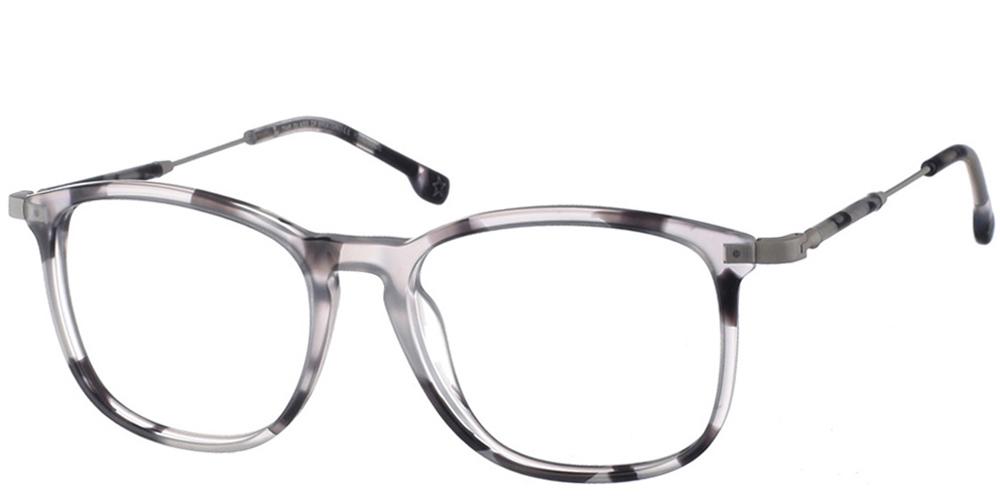 Γυναικεία κοκάλινα τετράγωνα γυαλιά οράσεως Brixton Dusk BF0099 C3 με ασπρόμαυρο και ασημί μεταλλικό σκελετόγια όλα τα πρόσωπα.