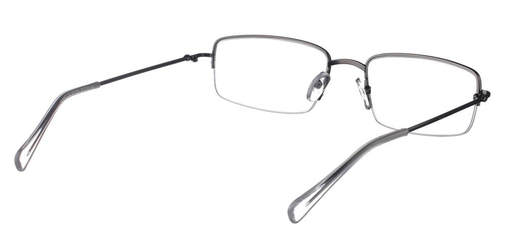 Τετράγωνα ελαφριά μεταλλικά ανδρικά και γυναικεία γυαλιά οράσεως Brixton Nixon BF0053 C4 nylor σε σκούρο ασημί χρώμαγια όλα τα πρόσωπα.