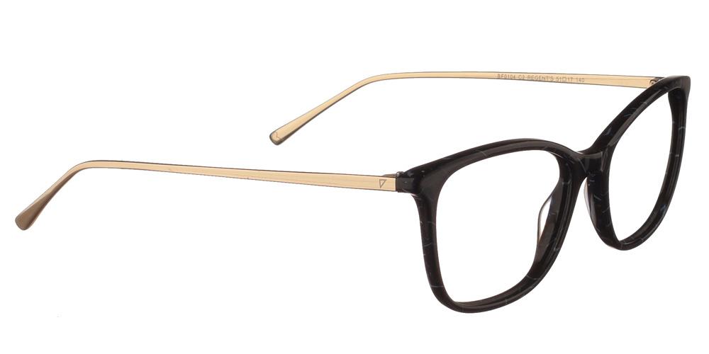 Γυναικεία κοκάλινα γυαλιά οράσεως Brixton Regents BF0104 C2 με μπλε σκελετό και μεταλλικούς χρυσούς βραχίονεςγια όλα τα πρόσωπα.