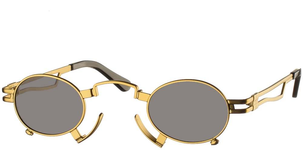 Στρογγυλά μεταλλικά ανδρικά και γυναικεία γυαλιά ηλίου Hi Tek HT164 Gold με χρυσό μεταλλικό σκελετό και σκούρους γκρι polarized φακούς για όλα τα πρόσωπα.