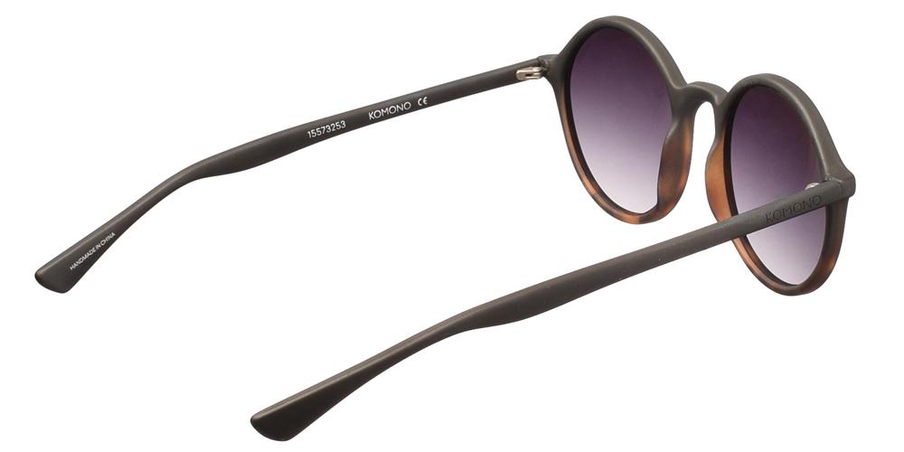 Κοκάλινα στρογγυλά ανδρικά και γυναικεία γυαλιά ηλίου Komono Madison Matte Tortoise σε μαύρο ματ χρώμα και καφέ ταρταρούγα για όλα τα πρόσωπα.