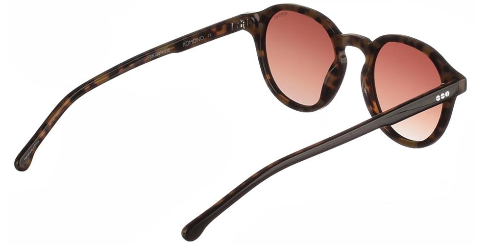 Κοκάλινα ανδρικά και γυναικεία γυαλιά ηλίου Komono Damien Black Tortoise σε μαύρη και καφέ ταρταρούγα και καφέ polarized ντεγκραντέ φακούς.