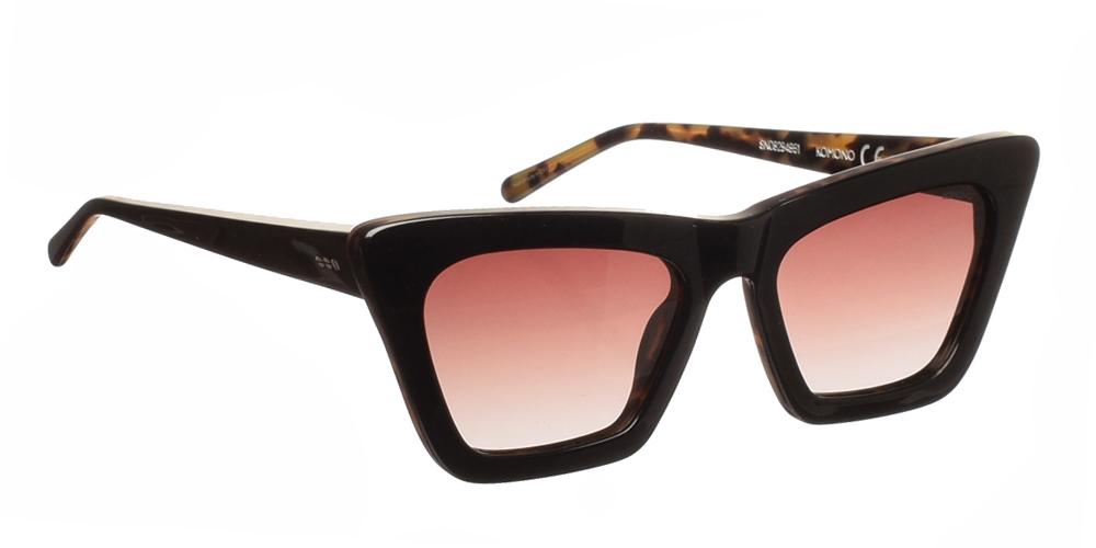 Κοκάλινα γυναικεία γυαλιά ηλίου πεταλούδα Komono Jessie Black Tortoise σε μαύρο και καφέ ταρταρούγα σκελετό και καφέ ντεγκραντέ φακούς.