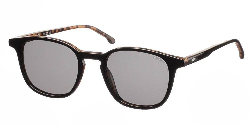Ανδρικά τετράγωνα κοκάλινα γυαλιά ηλίου Komono Maurice Black Tortoise σε μαύρη και καφέ ταρταρούγα και γκρι polarized φακούςγια όλα τα πρόσωπα.