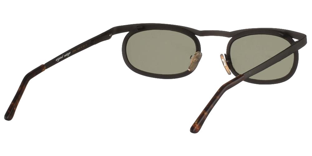 Μεταλλικά ανδρικά και γυναικεία γυαλιά ηλίου Original Vintage 221 Black με μαύρο ματ σκελετό και σκούρους πράσινους φακούςγια όλα τα πρόσωπα.