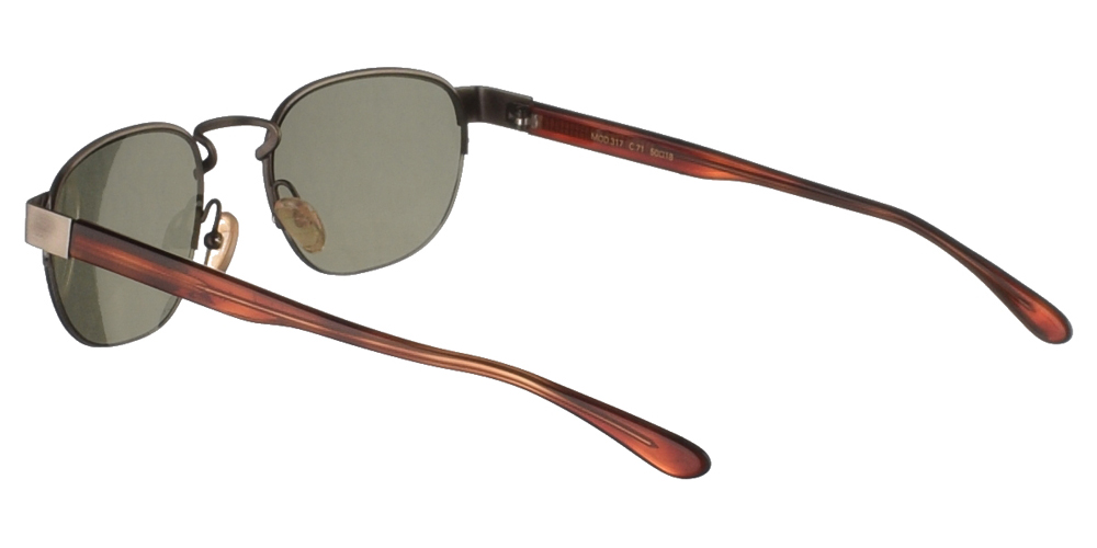 Μεταλλικά ανδρικά και γυναικεία γυαλιά ηλίου Original Vintage 317 Gunmetal σε ασημί σκελετό με βραχίονες σε χρώμα ταρταρούγα και σκούρους πράσινους φακούς.