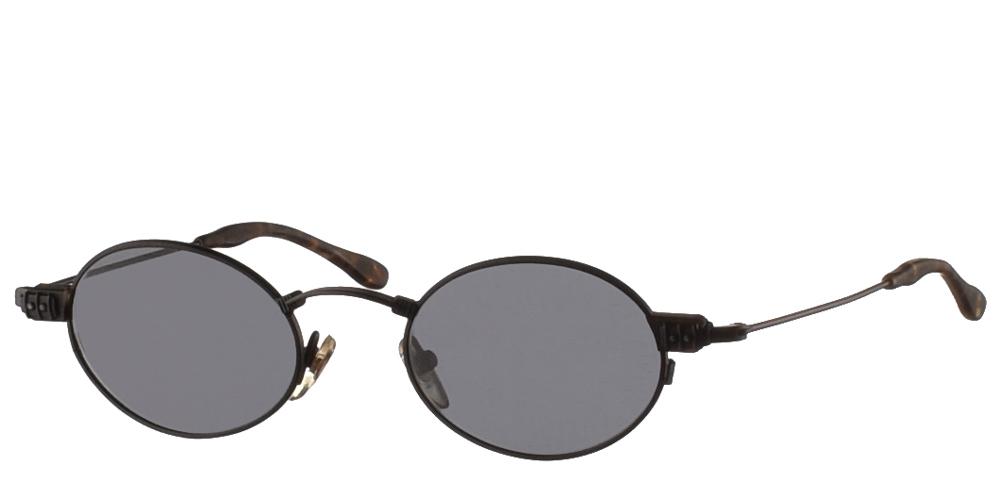 Μεταλλικά στρογγυλά ανδρικά και γυναικεία γυαλιά ηλίου Original Vintage 823 Black με μαύρο ματ σκελετό και σκούρους γκρι φακούςγια όλα τα πρόσωπα.