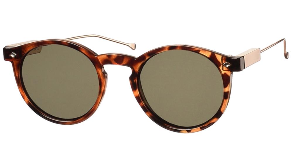 Στρογγυλά ανδρικά και γυναικεία κοκάλινα γυαλιά ηλίου Spitfire Flex Tortoise με χρυσούς μεταλλικούς βραχίονες και επίπεδους φακούςγια όλα τα πρόσωπα.
