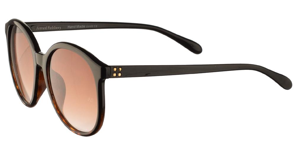 Γυναικεία κοκάλινα γυαλιά ηλίου Armed Robbery Goldy Black Tortoise σε μαύρο χρώμα με καφέ λεπτομέρειες και καφέ ντεγκραντέ φακούςγια μεσαία και μεγάλα πρόσωπα.