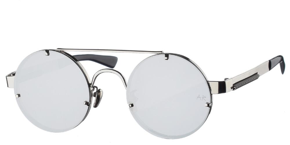 Μεταλλικά ανδρικά και γυναικεία στρογγυλά γυαλιά ηλίου Armed Robbery James Silver με διπλή ασημί μπάρα και επίπεδους απαλούς ασημί καθρέφτεςγια όλα τα πρόσωπα.