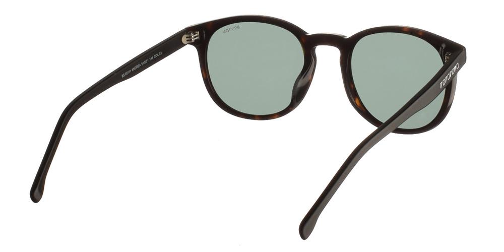 Ανδρικά κοκάλινα γυαλιά ηλίου Andrea Dark Tortoise σε σκουρόχρωμη ταρταρούγα και σκούρους πράσινους φακούς της εταιρίας Glass of Brixtonγια μεσαία και μεγάλα πρόσωπα.