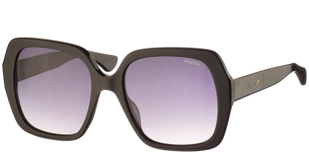 Γυναικεία κοκάλινα τετράγωνα γυαλιά ηλίου Naomi Black σε μαύρο χρώμα και γκρι φακούς της εταιρίας Glass of Brixtonγια μεσαία και μεγάλα πρόσωπα.