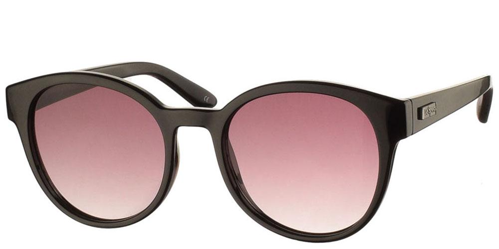 Στρογγυλά κοκάλινα γυναικεία γυαλιά ηλίου Le Specs Paramount Black σε μαύρο χρώμα και γκρι ντεγκραντέ φακούς για μεσαία και μεγάλα πρόσωπα.