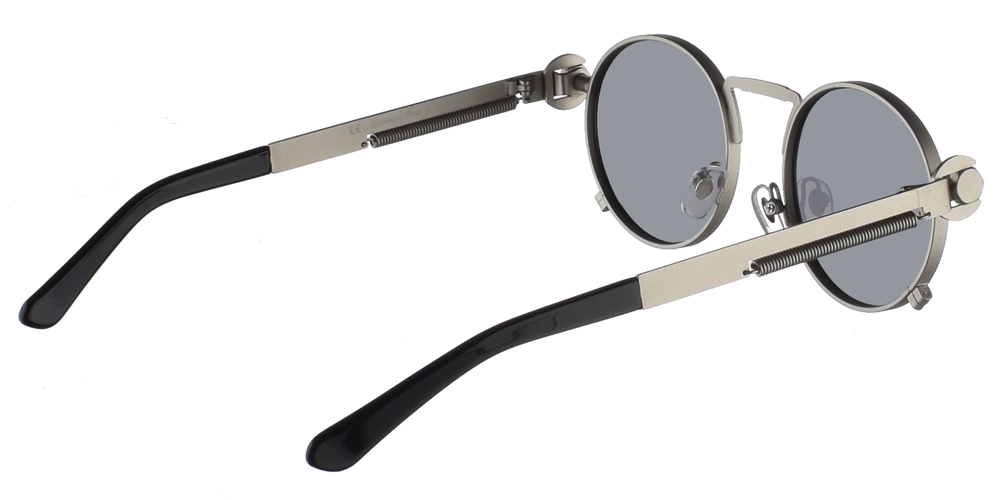 Steampunk στρογγυλά μεταλλικά ανδρικά και γυναικεία γυαλιά ηλίου Hitek Alexander 165 Silver σε ασημί ματ σκελετό και σκούρους γκρι polarized φακούς.