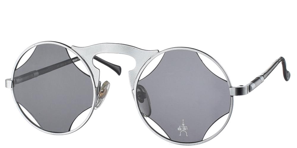 Στρογγυλά μεταλλικά ανδρικά και γυναικεία γυαλιά ηλίου Hitek Alexander 006 Silver σε ασημί σκελετό και σκουρόχρωμους γκρι φακούςγια όλα τα πρόσωπα.