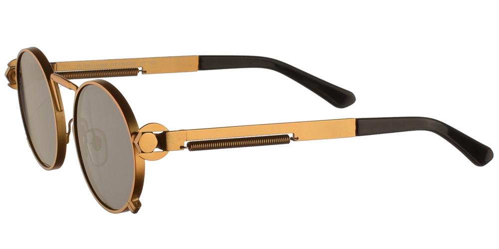 Steampunk στρογγυλά μεταλλικά ανδρικά και γυναικεία γυαλιά ηλίου Hitek Alexander 165 Gold σε χρυσό ματ σκελετό και σκούρους γκρι polarized φακούς.