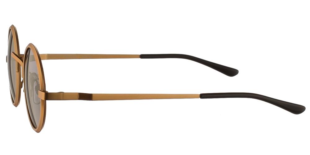 Steampunk στρογγυλά μεταλλικά ανδρικά και γυναικεία γυαλιά ηλίου Hitek Alexander 1970 Gold με χρυσό μεταλλικό σκελετό και σκούρους γκρι polarized φακούς.