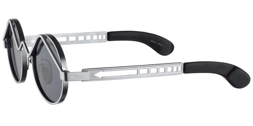 Steampunk στρογγυλά μεταλλικά ανδρικά και γυναικεία γυαλιά ηλίου Hitek Alexander 4007 Silver σε ασημί σκελετό και σκούρους γκρι polarized φακούς.