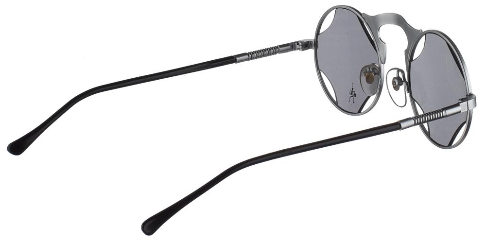 Στρογγυλά μεταλλικά ανδρικά και γυναικεία γυαλιά ηλίου Hi Tek HT 006 Silver σε ασημί σκελετό και σκουρόχρωμους γκρι φακούςγια όλα τα πρόσωπα.