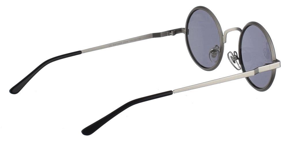 Steampunk στρογγυλά μεταλλικά ανδρικά και γυναικεία γυαλιά ηλίου Hitek Alexander 1970 Silver με ασημί μεταλλικό σκελετό και σκούρους γκρι polarized φακούς.