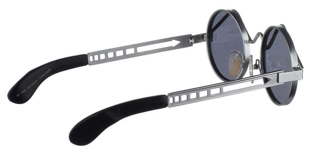 Μεταλλικά στρογγυλά ανδρικά και γυναικεία γυαλιά ηλίου Hi Tek HT 4007 Silver σε ασημί σκελετό και σκούρους γκρι polarized φακούςγια όλα τα πρόσωπα.