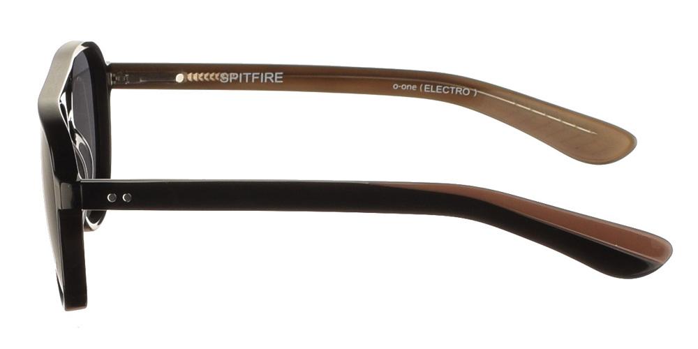 Κοκάλινα διαχρονικά πιλοτικά ανδρικά γυαλιά ηλίου Spitfire Electro Black με μαύρο σκελετό με καφέ λεπτομέρειες και σκουρόχρωμους γκρι φακούς.