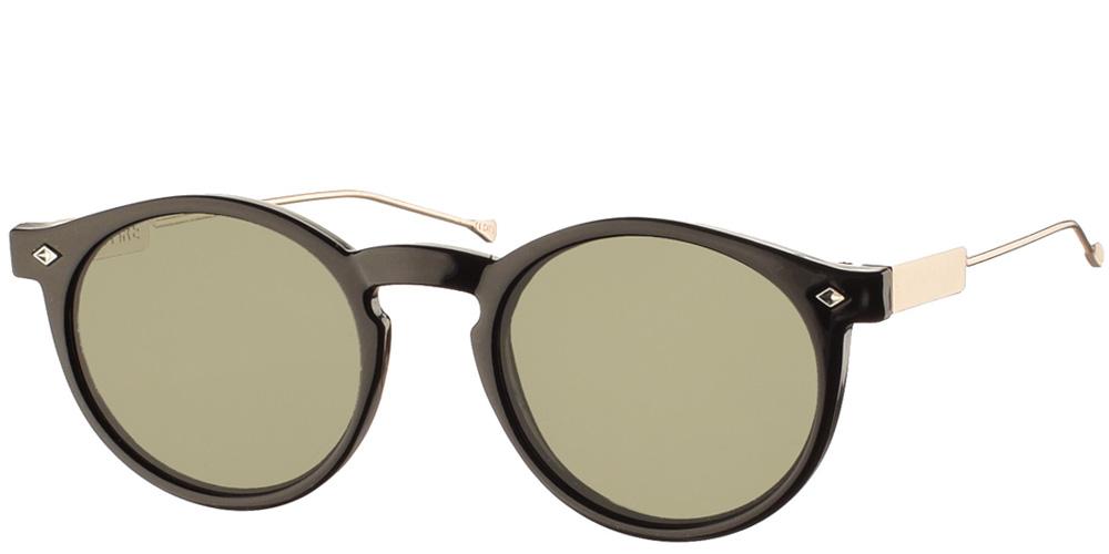 Στρογγυλά ανδρικά και γυναικεία κοκάλινα γυαλιά ηλίου Spitfire Flex Black με χρυσούς μεταλλικούς βραχίονες και επίπεδους φακούςγια όλα τα πρόσωπα.
