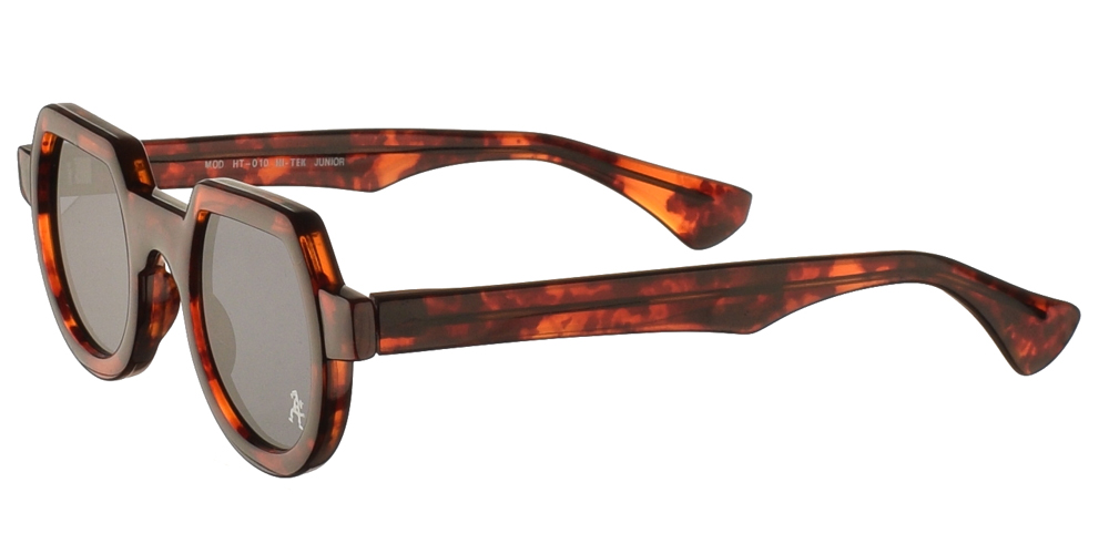 Κοκάλινα στρογγυλά ανδρικά και γυναικεία γυαλιά ηλίου Hi Tek HT 010 Tortoise σε καφέ ταρταρούγα και σκούρους γκρι φακούςγια όλα τα πρόσωπα.