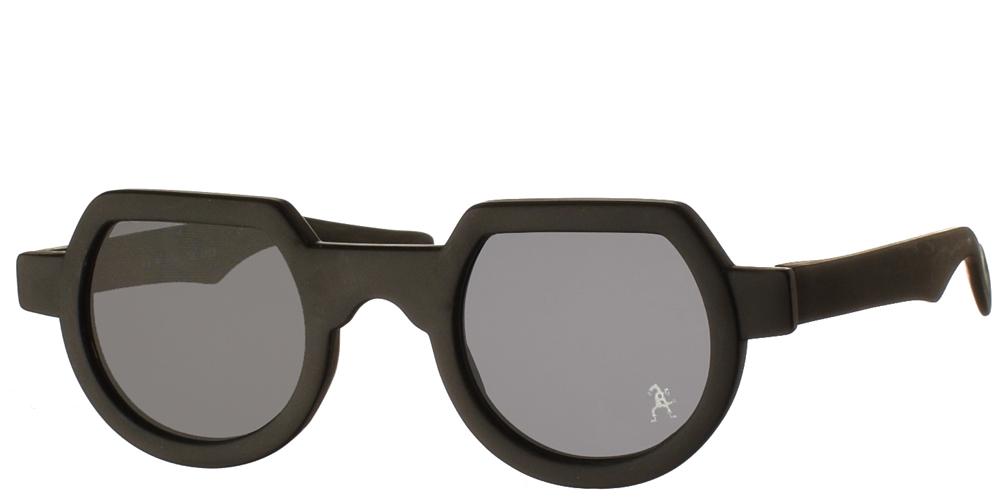 Κοκάλινα στρογγυλά ανδρικά και γυναικεία γυαλιά ηλίου Hi Tek HT 010 Matte Black σε μαύρο ματ σκελετό και σκούρους γκρι φακούςγια όλα τα πρόσωπα.