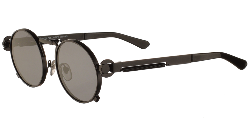 Steampunk στρογγυλά μεταλλικά ανδρικά και γυναικεία γυαλιά ηλίου Hitek Alexander 165 Black σε μαύρο ματ σκελετό και σκούρους γκρι polarized φακούς.