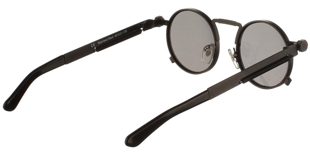 Steampunk στρογγυλά μεταλλικά ανδρικά και γυναικεία γυαλιά ηλίου Hitek Alexander 1985 Black σε μαύρο ματ σκελετό και σκούρους γκρι polarized φακούς.