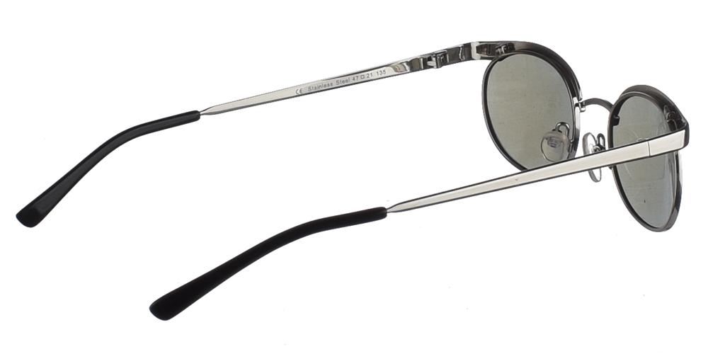 Μεταλλικά ανδρικά και γυναικεία γυαλιά ηλίου Hitek Alexander 35053 Silver με ασημί σκελετό και απαλούς μπλε polarized καθρέφτεςγια όλα τα πρόσωπα.