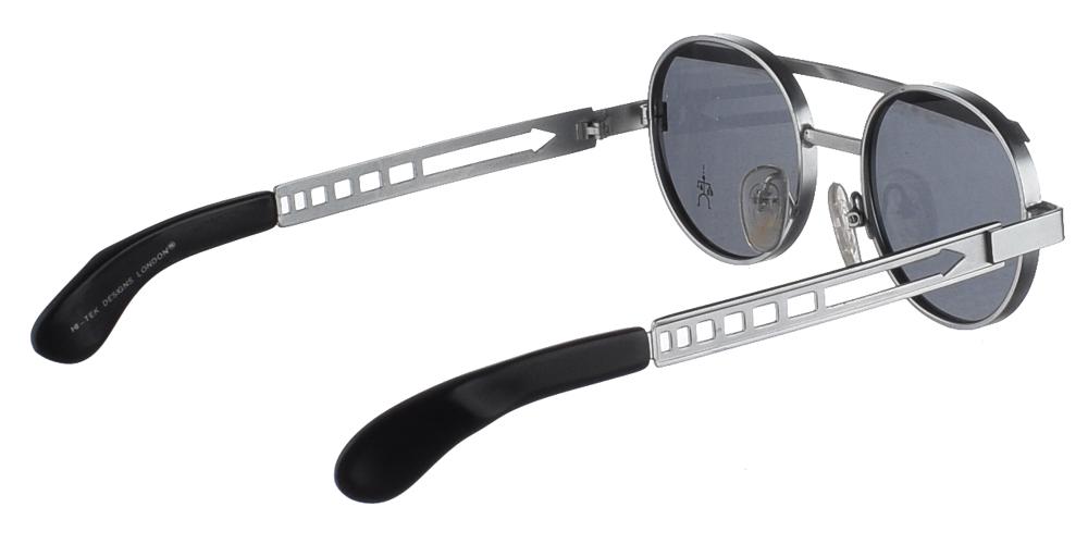 Steampunk στρογγυλά μεταλλικά ανδρικά και γυναικεία γυαλιά ηλίου Hitek Alexander 4002 Silver σε ασημί σκελετό και σκούρους γκρι φακούς.