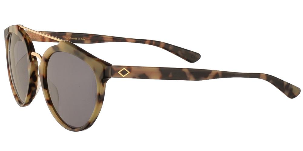 Χειροποίητα κοκάλινα ανδρικά και γυναικεία γυαλιά ηλίου Charlie Max Moscova 55N13 σε ανοιχτόχρωμη ταρταρούγα και σκούρους γκρι φακούςγια όλα τα πρόσωπα.