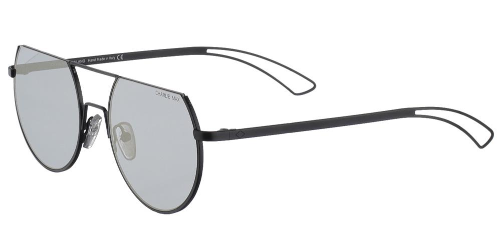 Χειροποίητα μεταλλικά ανδρικά και γυναικεία γυαλιά ηλίου Charlie Max Pontaccio BLS23 σε μαύρο ματ σκελετό και επίπεδους ασημί καθρέφτεςγια όλα τα πρόσωπα.