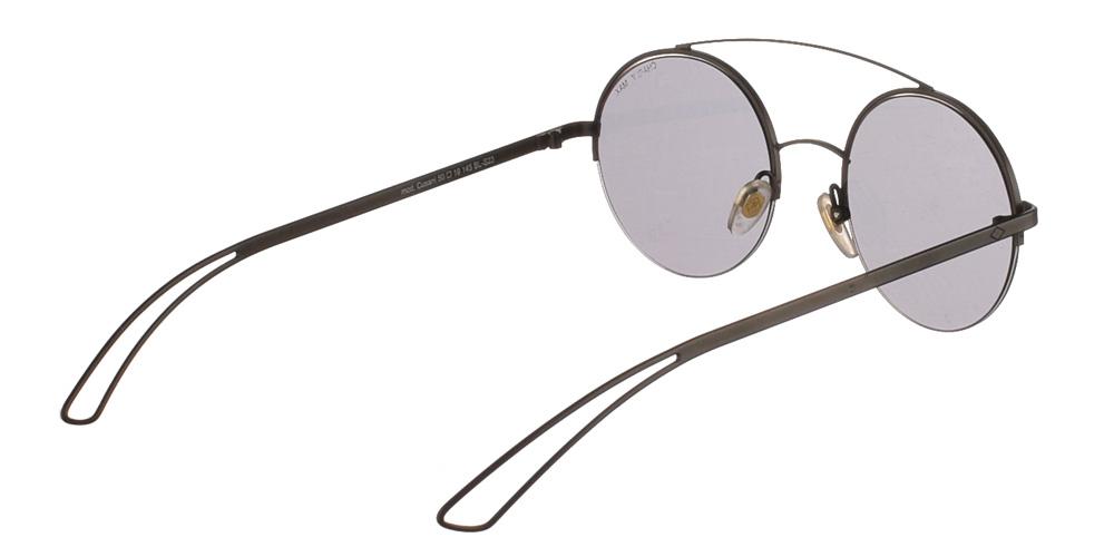 Χειροποίητα μεταλλικά ανδρικά και γυναικεία γυαλιά ηλίου Charlie Max Cusani BLS23 σε μαύρο ματ σκελετό και επίπεδους γκρι φακούςγια όλα τα πρόσωπα.