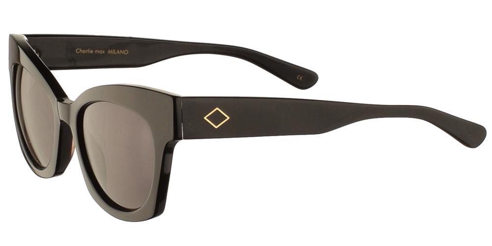 Χειροποίητα κοκάλινα γυναικεία γυαλιά ηλίου Charlie Max Scala 01N13 πεταλούδα, σε μαύρο σκελετό και σκούρους γκρι φακούςγια όλα τα πρόσωπα.