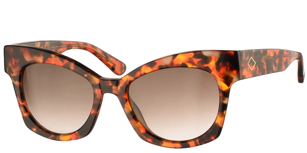 Χειροποίητα κοκάλινα γυναικεία γυαλιά ηλίου Charlie Max Scala 60N23 πεταλούδα, σε καφέ ταρταρούγα και γκρι-καφέ ντεγκραντέ φακούςγια όλα τα πρόσωπα.