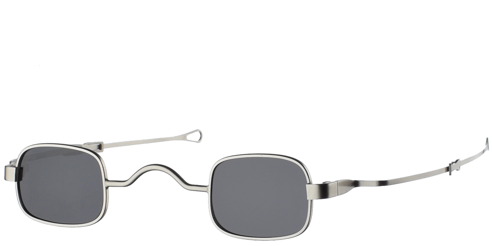 Μεταλλικά τετράγωνα ανδρικά και γυναικεία γυαλιά ηλίου Hi Tek HT Gs-Sqad Silver σε ασημί ματ σκελετό και σκούρους γκρι polarized φακούςγια όλα τα πρόσωπα.