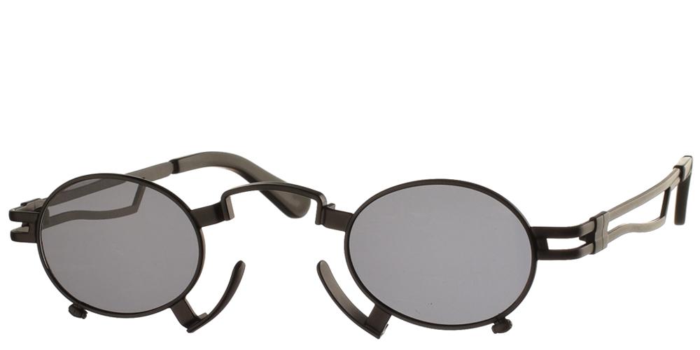 Steampunk στρογγυλά μεταλλικά ανδρικά και γυναικεία γυαλιά ηλίου Hitek Alexander 164 Black σε μαύρο ματ σκελετό και σκούρους γκρι polarized φακούς.