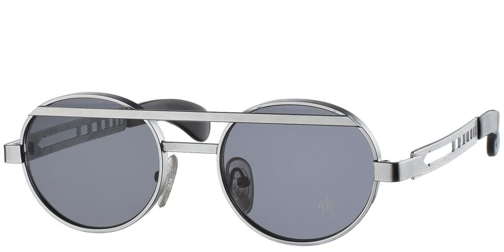 Στρογγυλά μεταλλικά ανδρικά και γυναικεία γυαλιά ηλίου Hi Tek HT 4002 Matte Silver σε ασημί σκελετό και σκούρους γκρι φακούςγια μεσαία και μεγάλα πρόσωπα.