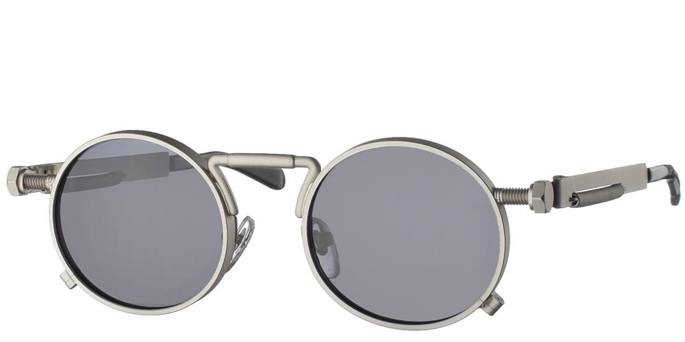 Steampunk στρογγυλά μεταλλικά ανδρικά και γυναικεία γυαλιά ηλίου Hitek Alexander 1985 Silver σε ασημί ματ σκελετό και σκούρους γκρι polarized φακούς.
