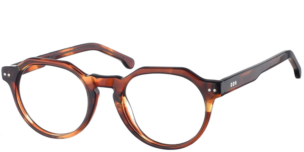 Στρογγυλά κοκάλινα ανδρικά και γυναικεία γυαλιά οράσεως Komono Charles Bourbon σε καφέ σκελετό για όλα τα πρόσωπα.