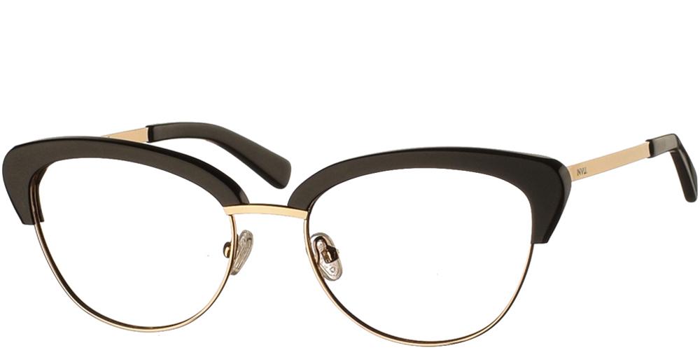 Γυναικεία γυαλιά οράσεως nylor πεταλούδα Invu B3803 A με μαύρο και χρυσό σκελετό για μεσαία και μεγάλα πρόσωπα.