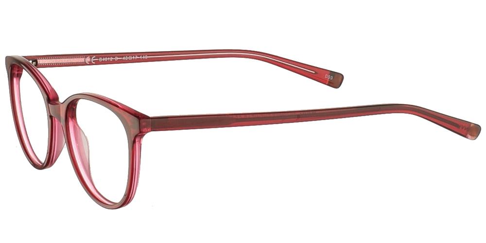 Γυναικεία κοκάλινα γυαλιά οράσεως σε σχήμα πεταλούδα Invu B4012 D με κόκκινο σκελετό για μικρά και μεσαία πρόσωπα.